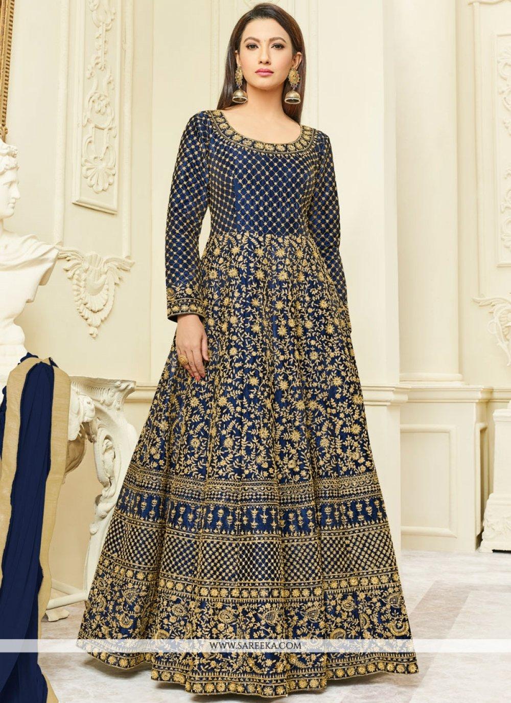 Gauhar Khan Blue Floor Length Anarkali Suit
