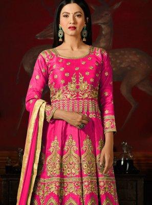 Gauhar Khan Embroidered Work Hot Pink Floor Length Anarkali Suit