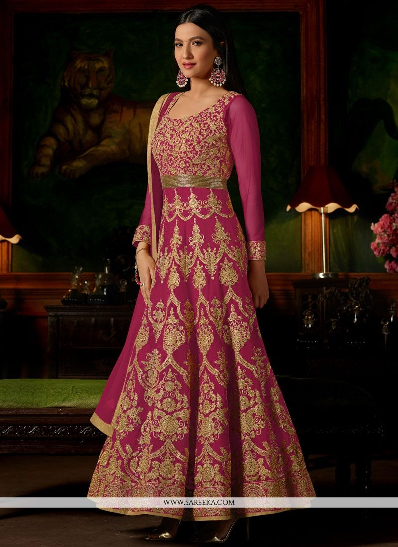 Gauhar Khan Lace Work Faux Georgette Floor Length Anarkali Suit