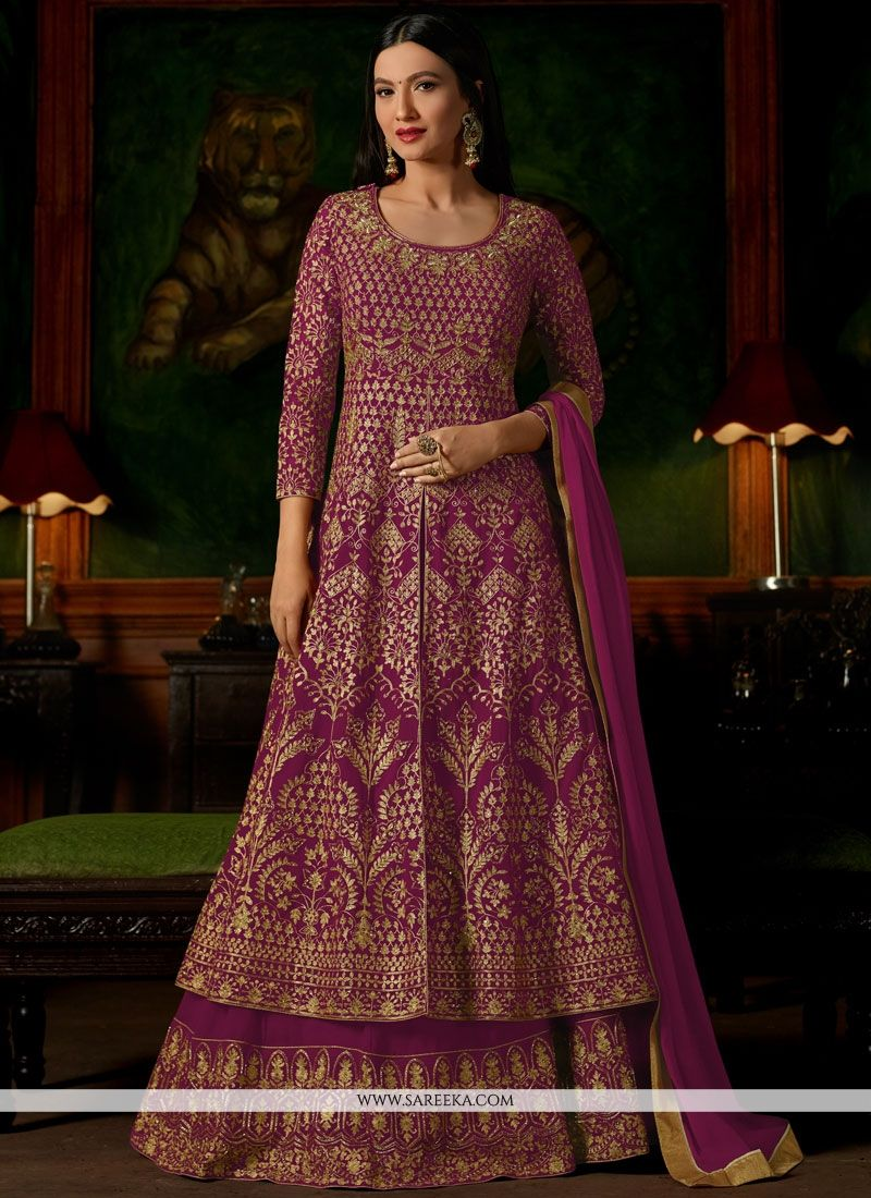 Gauhar Khan Magenta Long Choli Lehenga