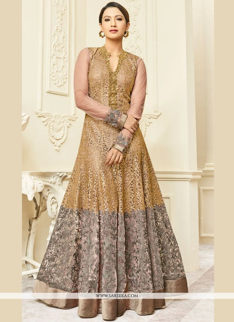 Gauhar Khan Malbari Silk  Embroidered Work Floor Length Anarkali Suit