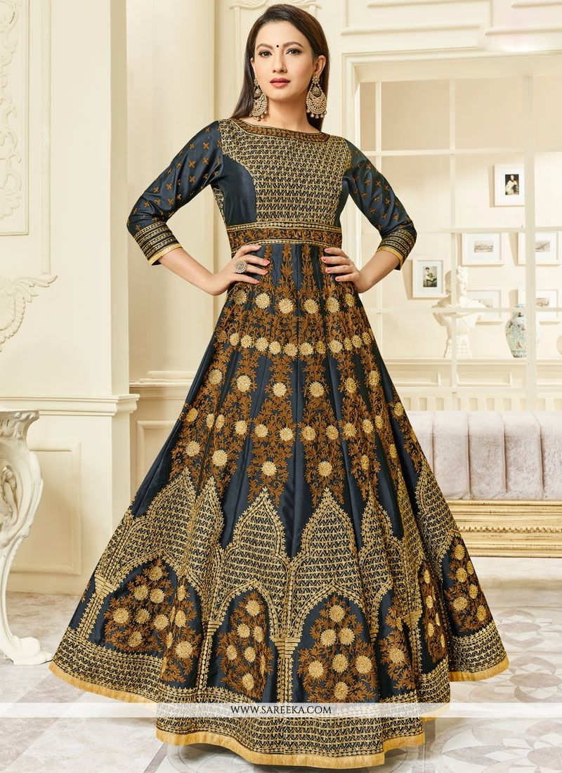 Gauhar Khan Malbari Silk  Floor Length Anarkali Suit
