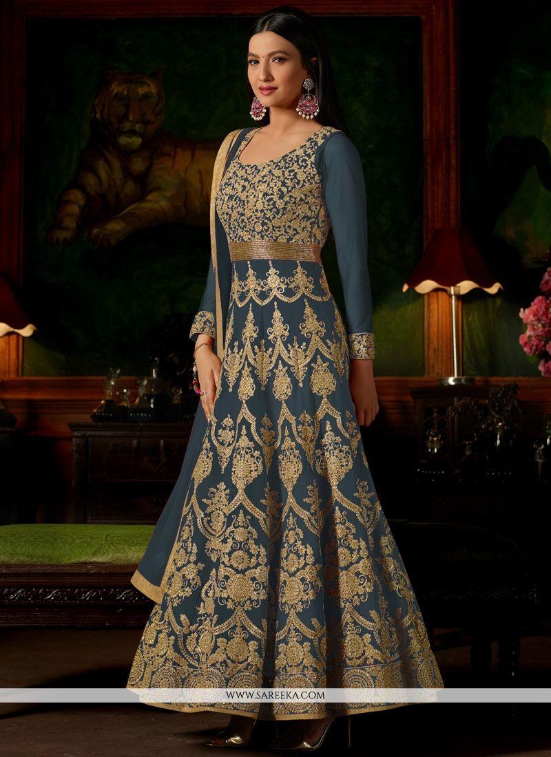 Gauhar Khan Resham Work Faux Georgette Floor Length Anarkali Suit