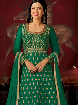Gauhar Khan Sea Green Faux Georgette Floor Length Anarkali Suit