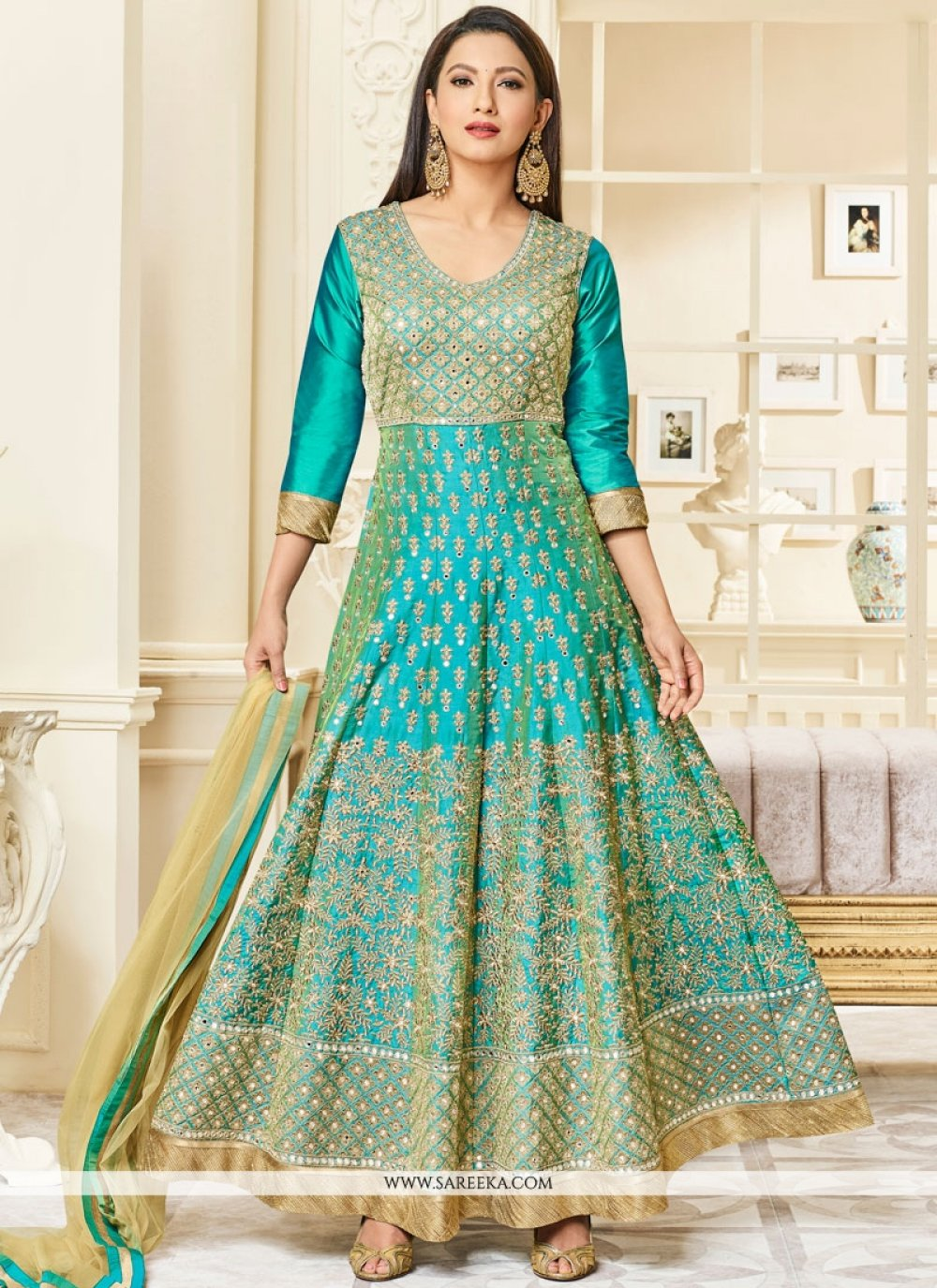 Gauhar Khan Sea Green Floor Length Anarkali Suit
