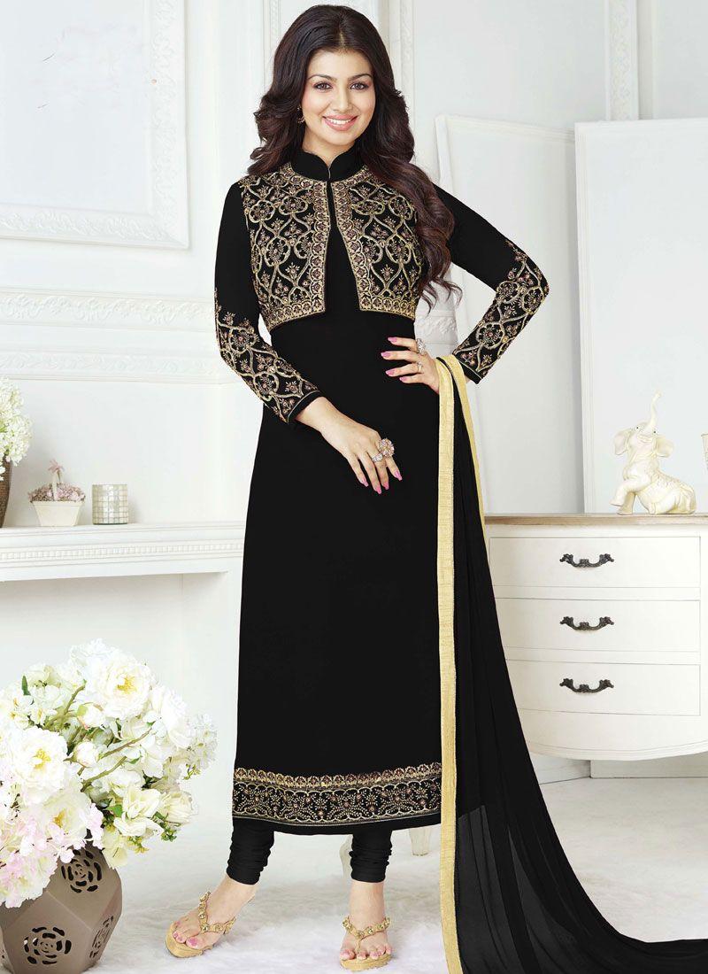 6ad36f5965 Buy Georgette Aqua Blue and Black Churidar Salwar Kameez Online -
