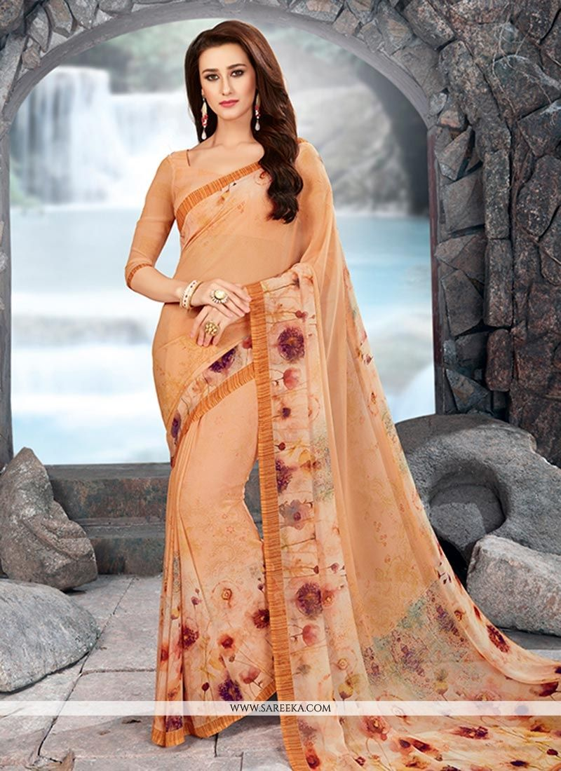 Georgette Beige Printed Work Work Casual Saree