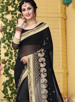Georgette Black Zari Classic Saree