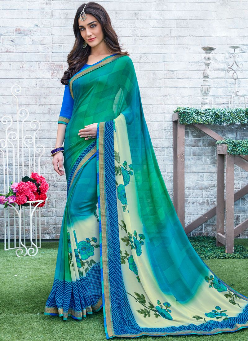 Georgette Blue and Green Printed Saree