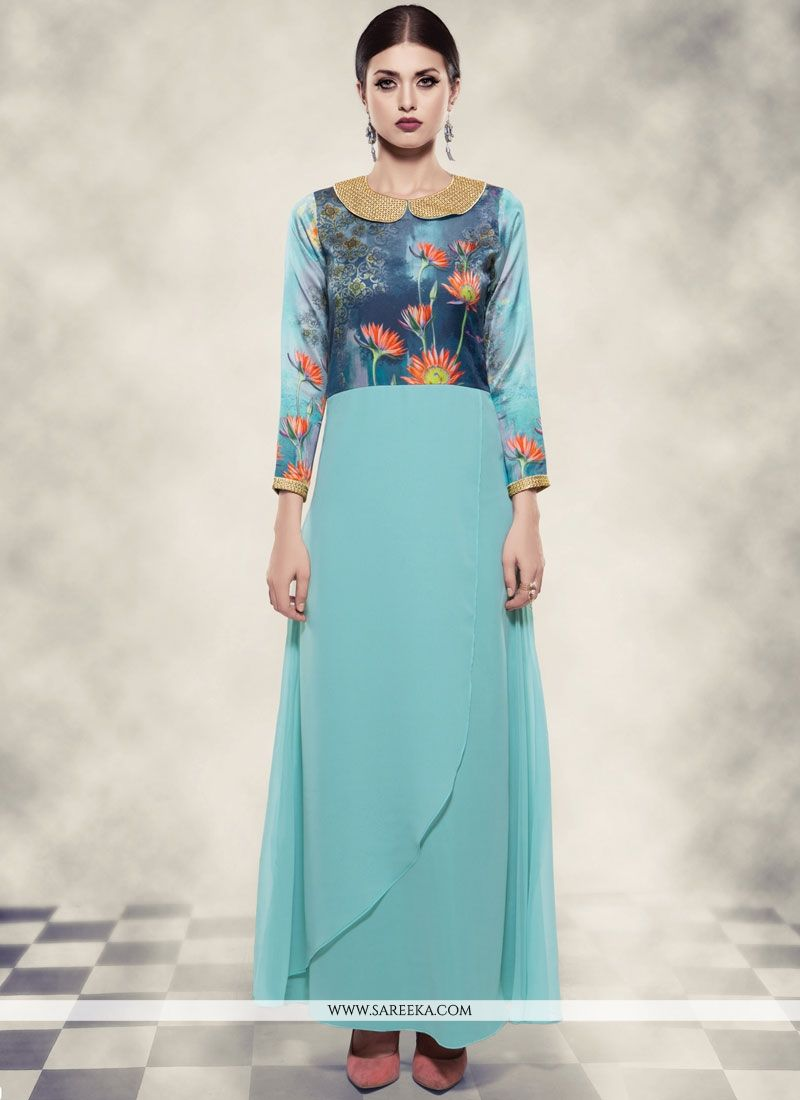 Georgette Blue Readymade Gown