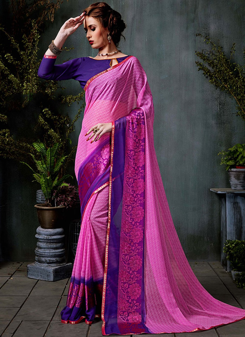 Georgette Border Casual Saree in Pink