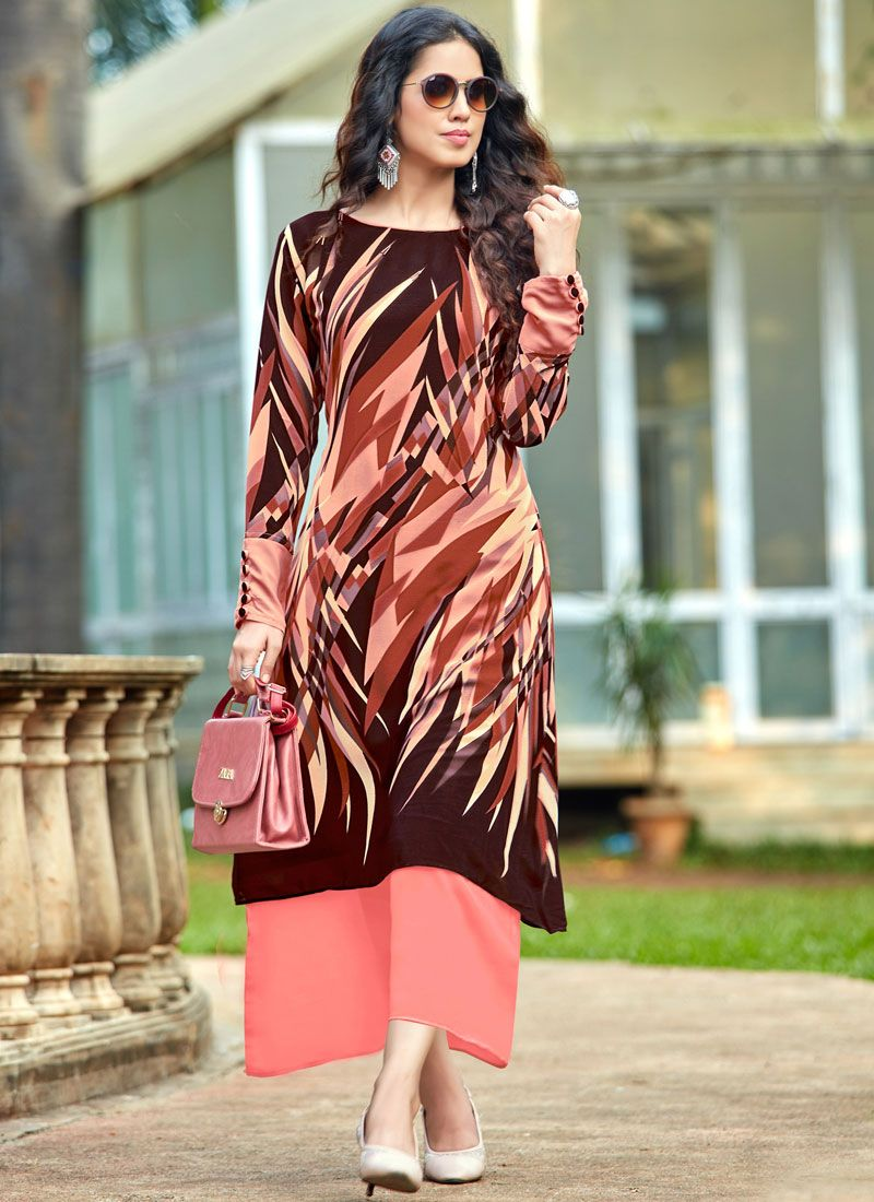 Georgette Brown and Peach Printed Work Party Wear Kurti