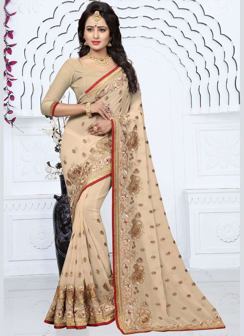 Georgette Cream Classic Designer Saree