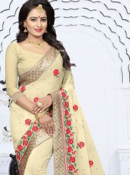 Georgette Cream Designer Saree