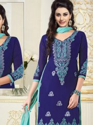 Georgette Embroidered Churidar Salwar Kameez in Blue