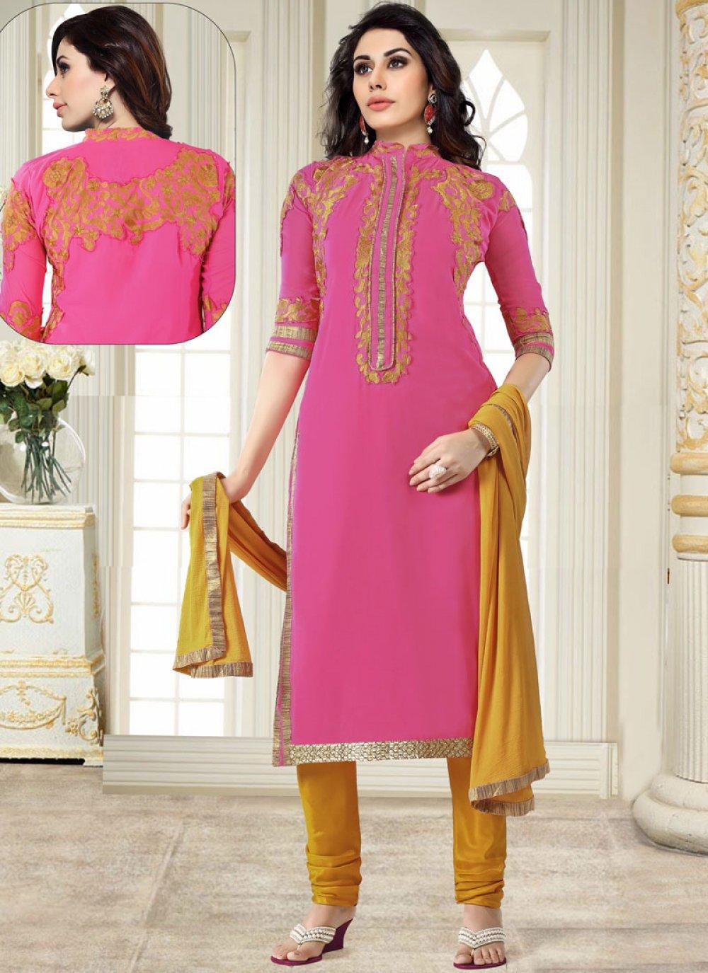 Georgette Embroidered Churidar Salwar Suit in Pink