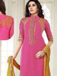 Georgette Embroidered Churidar Salwar Suit in Pink