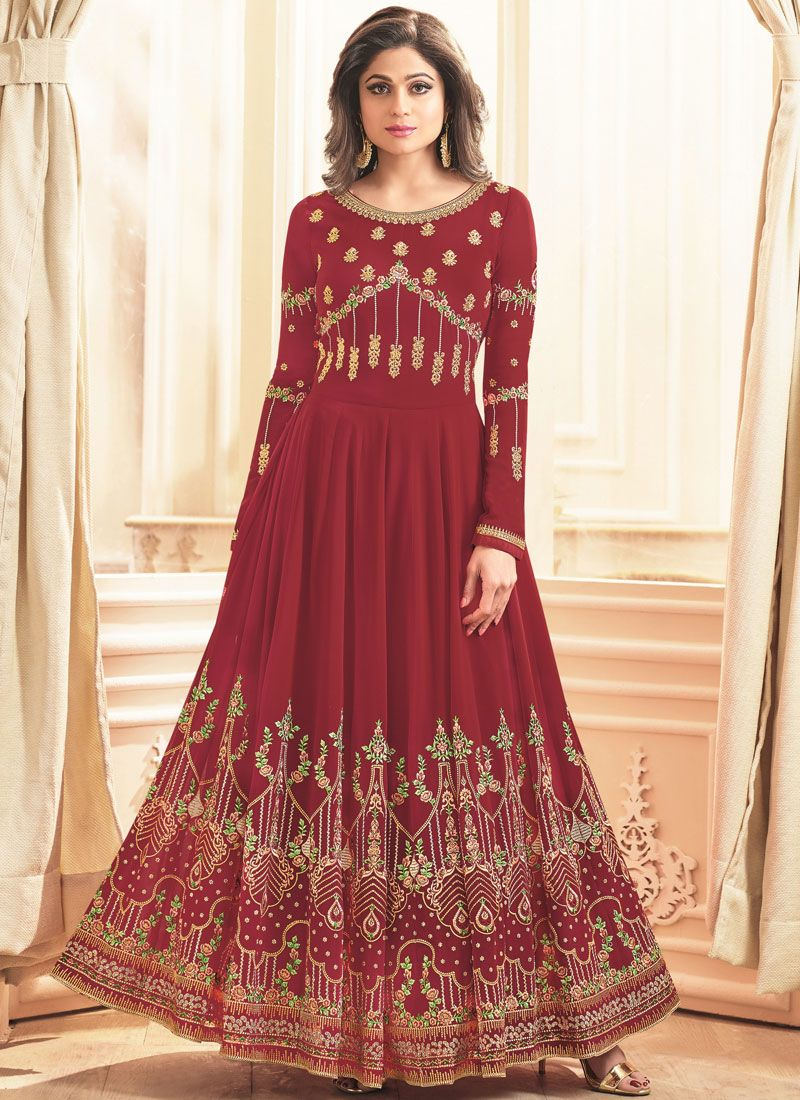 Georgette Embroidered Maroon Desinger Anarkali Suit