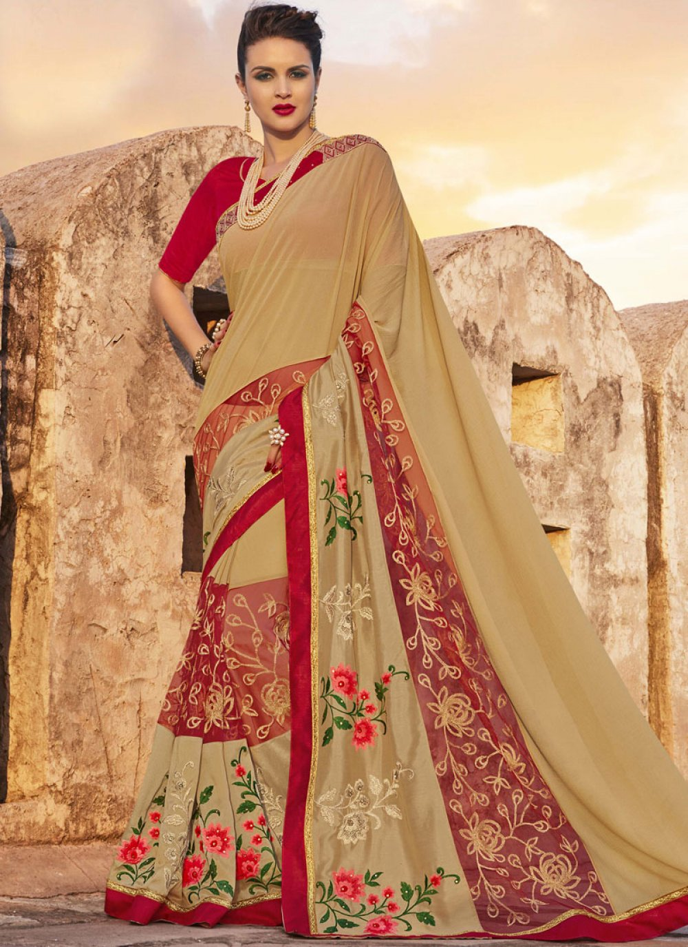Georgette Embroidered Work Bollywood Saree