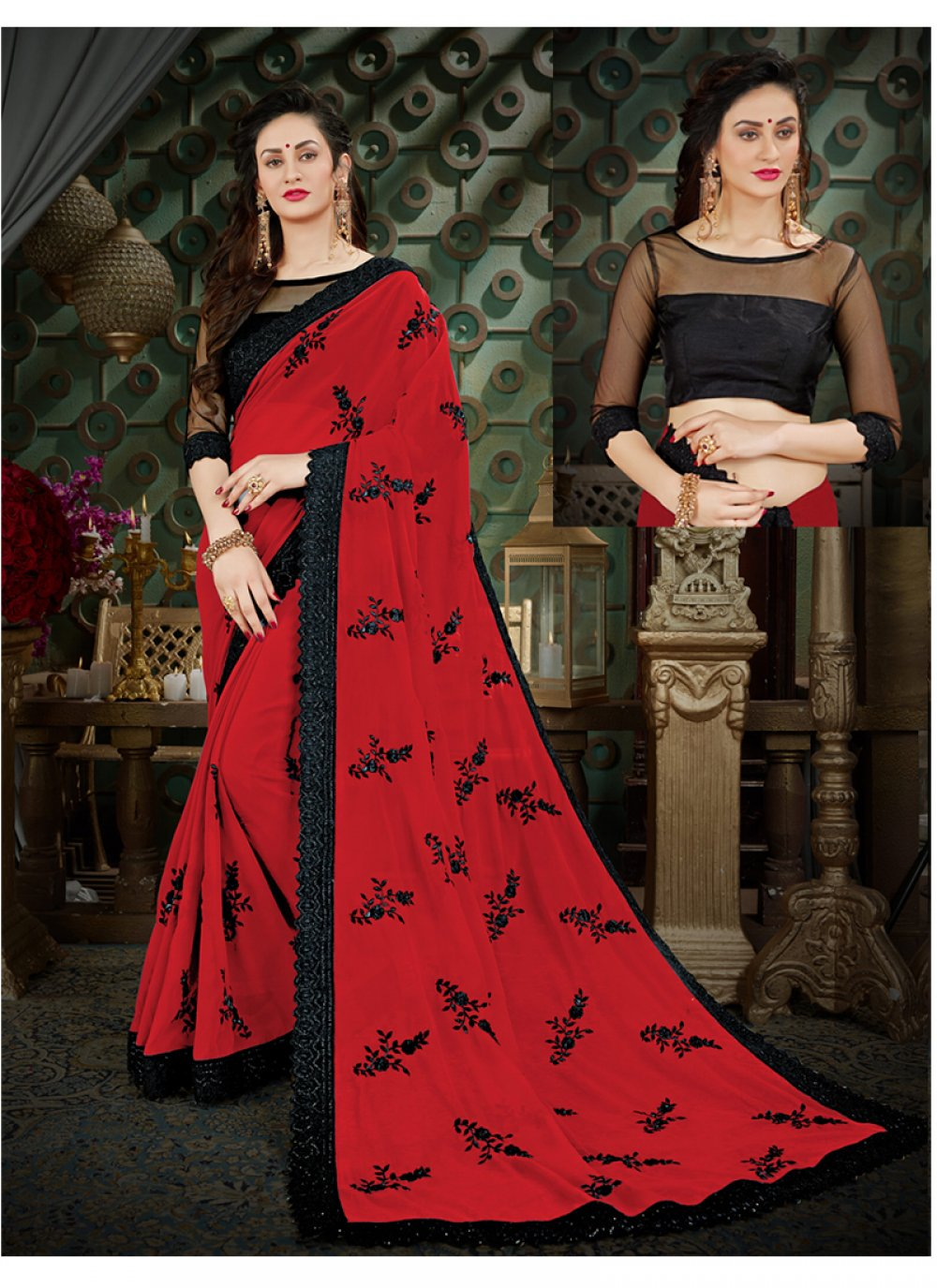 Georgette Embroidered Work Casual Saree