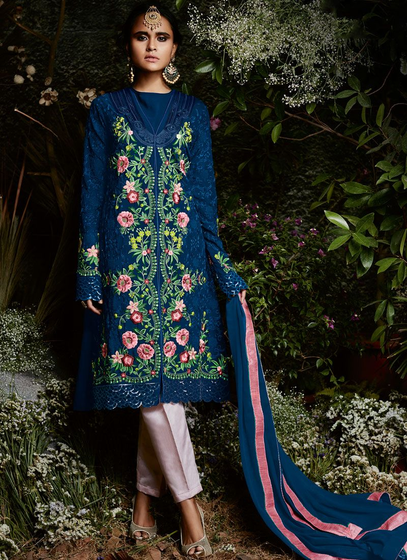 Georgette Embroidered Work Pant Style Suit
