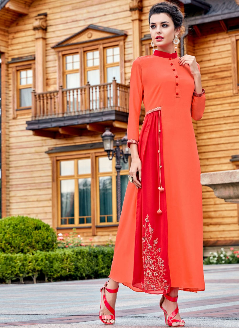 Georgette Embroidered Work Party Wear Kurti