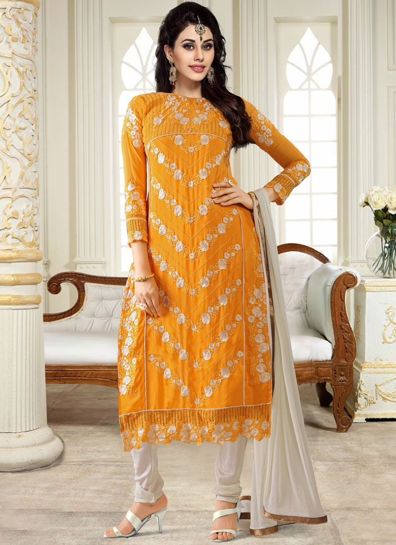 Georgette Embroidered Yellow Churidar Designer Suit
