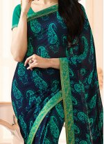 Georgette Green and Navy Blue Printed Work Work Casual Saree