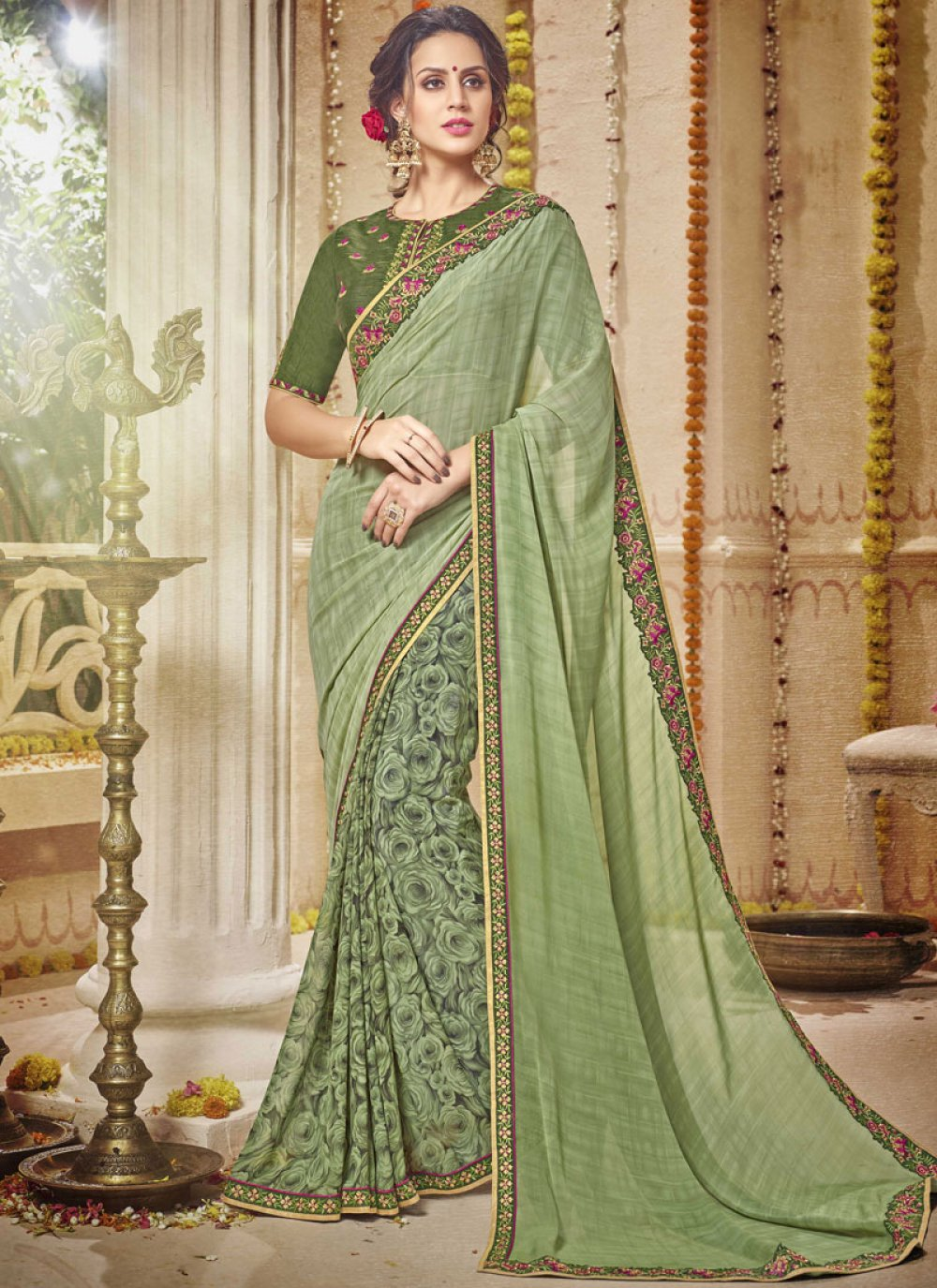 Georgette Green Trendy Saree