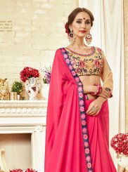 Georgette Hot Pink Thread Work Trendy Saree