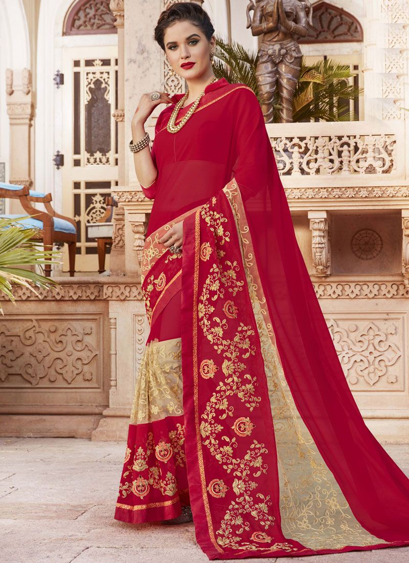 Georgette Maroon Bollywood Saree