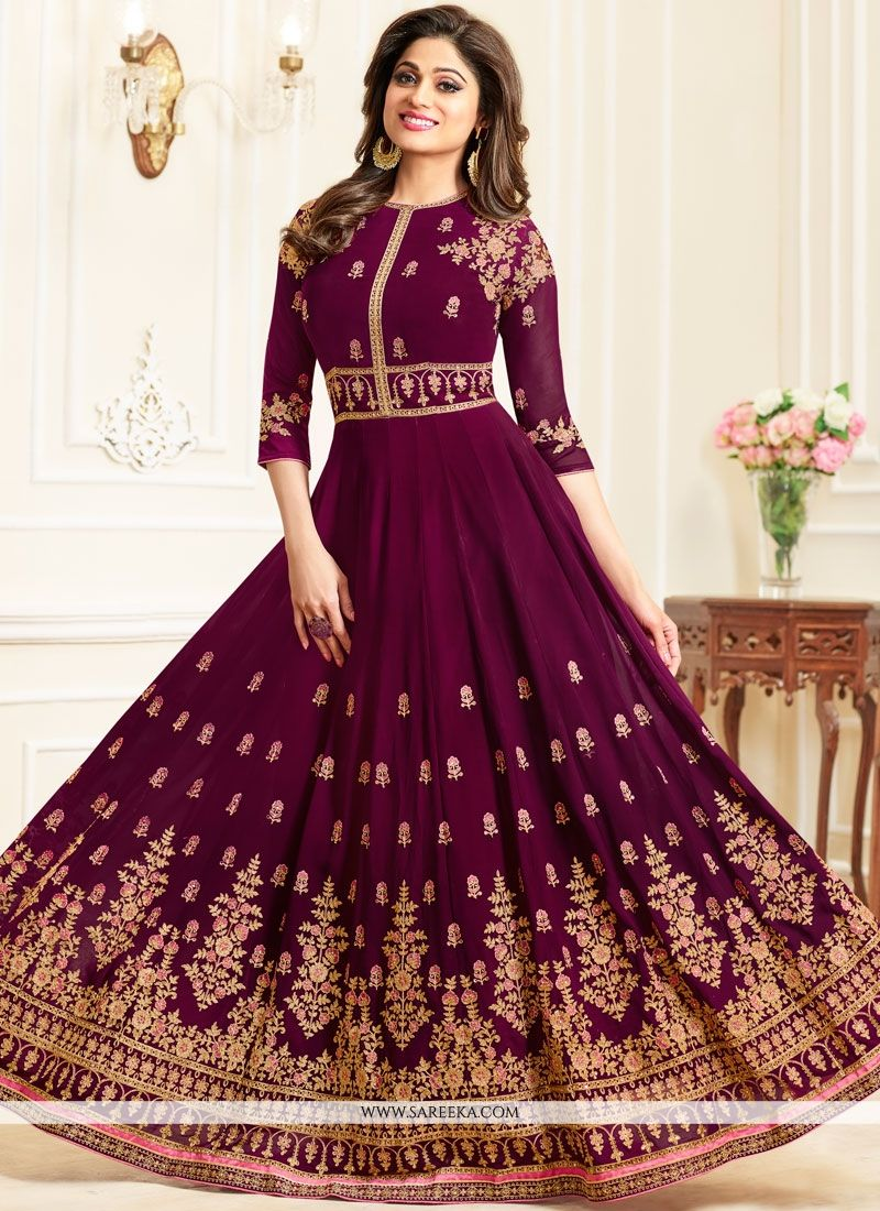 Georgette Maroon Embroidered Work Anarkali Salwar Kameez