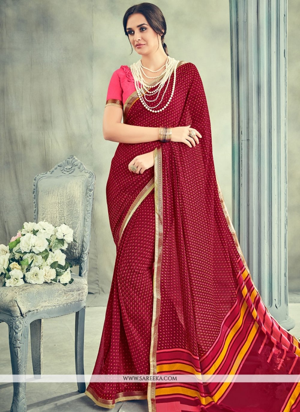 Georgette Maroon Lace Work Casual Saree