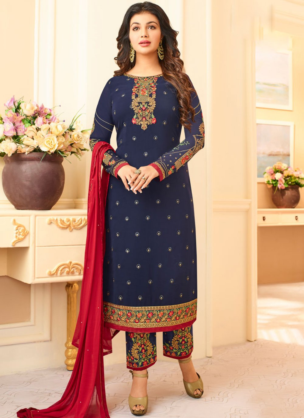 Georgette Navy Blue Embroidered Work Pant Style Suit