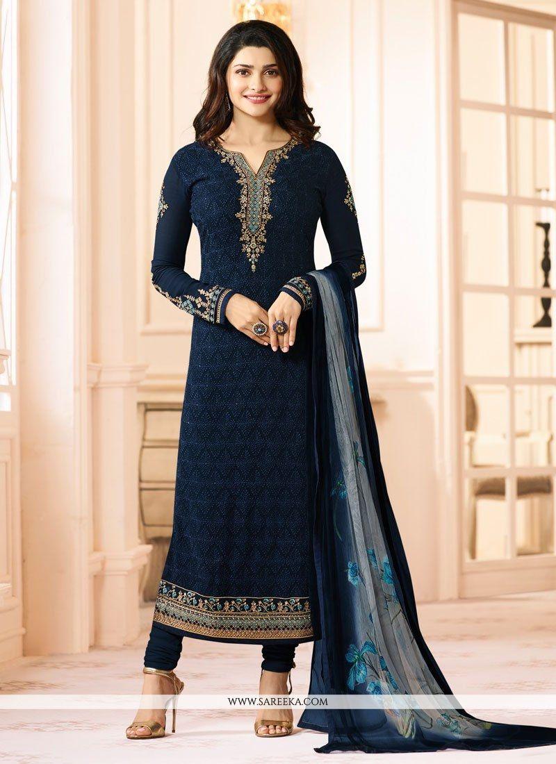 Georgette Navy Blue Embroidered Work Salwar Suit