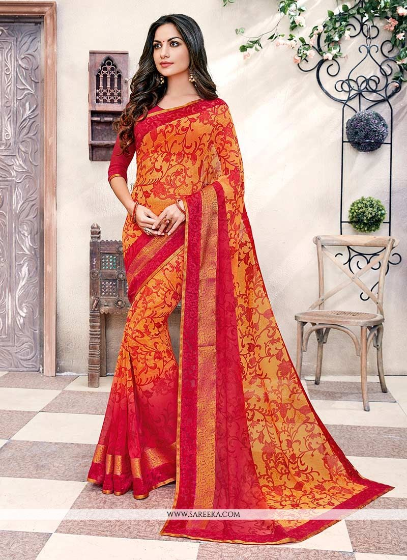 Georgette Orange and Red Casual Saree