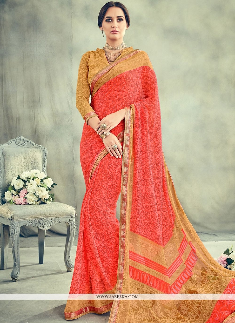 Georgette Orange Casual Saree