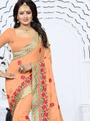 Georgette Orange Classic Designer Saree