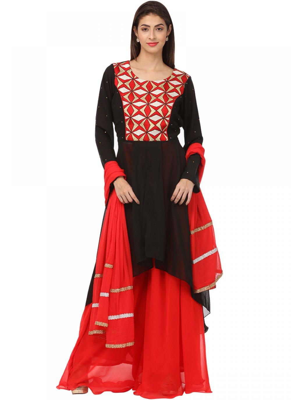 Georgette Palazzo Designer Salwar Kameez in Black