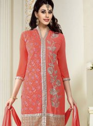 Georgette Peach Churidar Designer Suit
