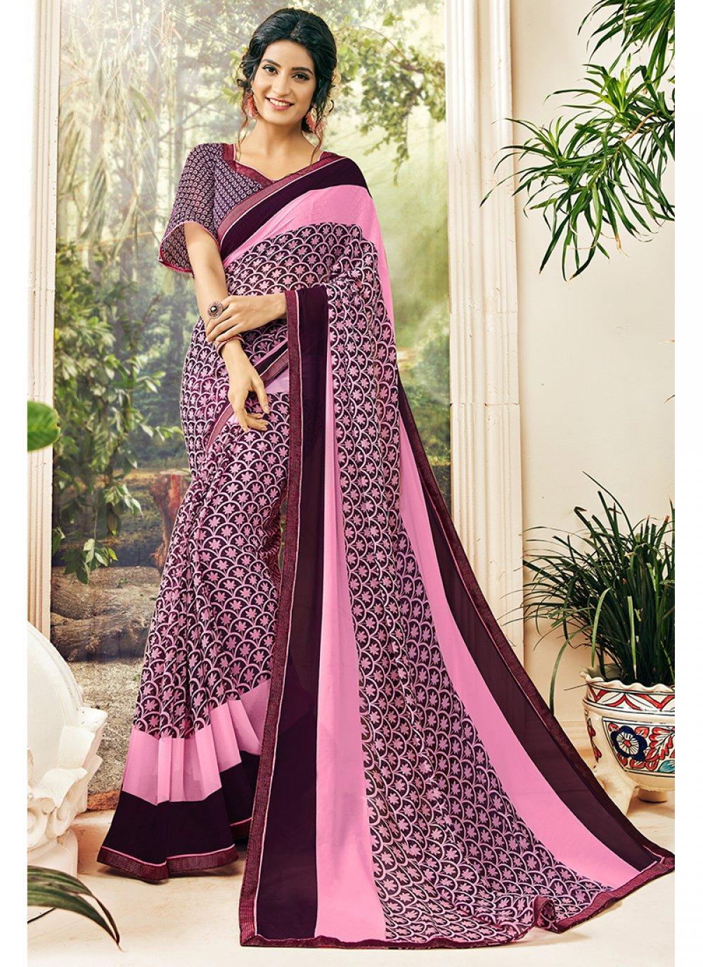 Georgette Pink and Purple Printed Saree