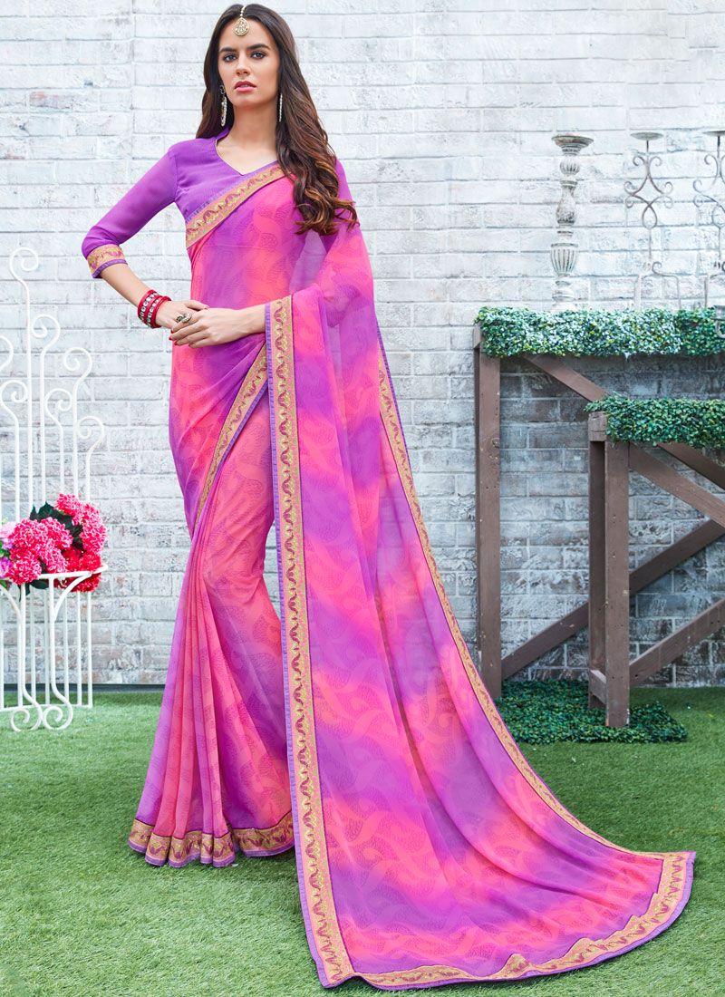Georgette Pink and Purple Printed Work Printed Saree