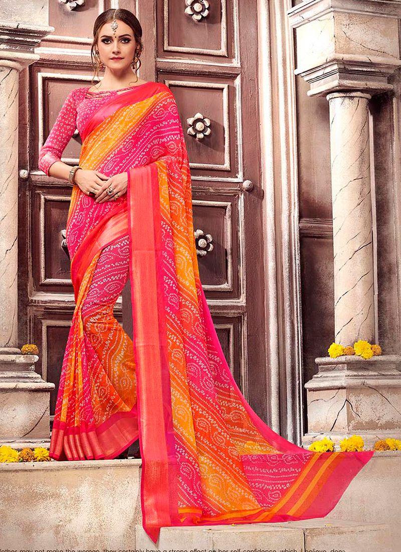 Georgette Print Multi Colour Saree