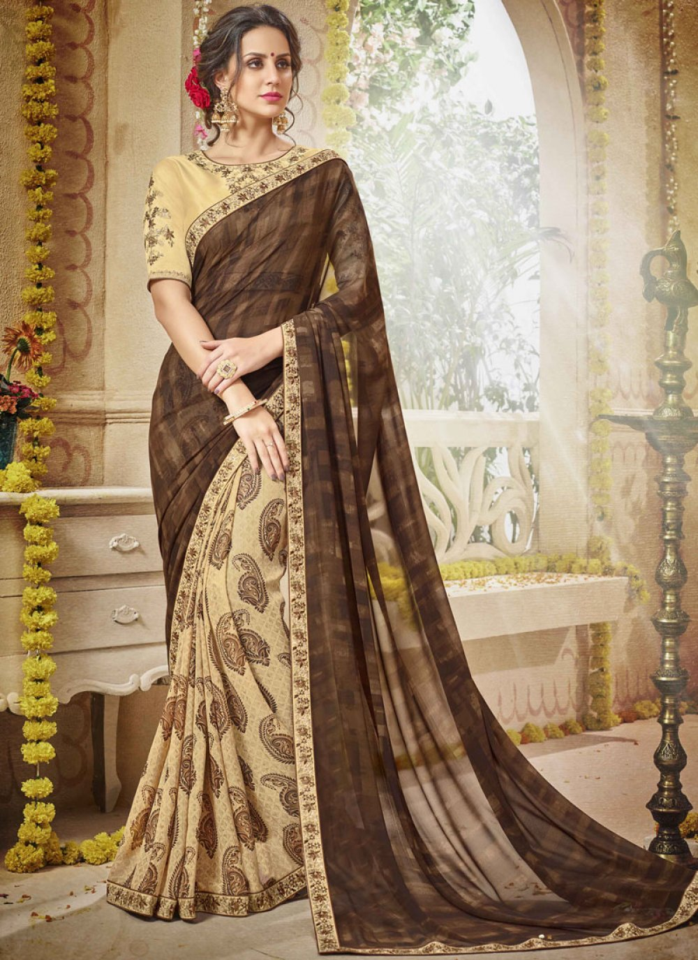Georgette Printed Trendy Saree in Beige and Brown