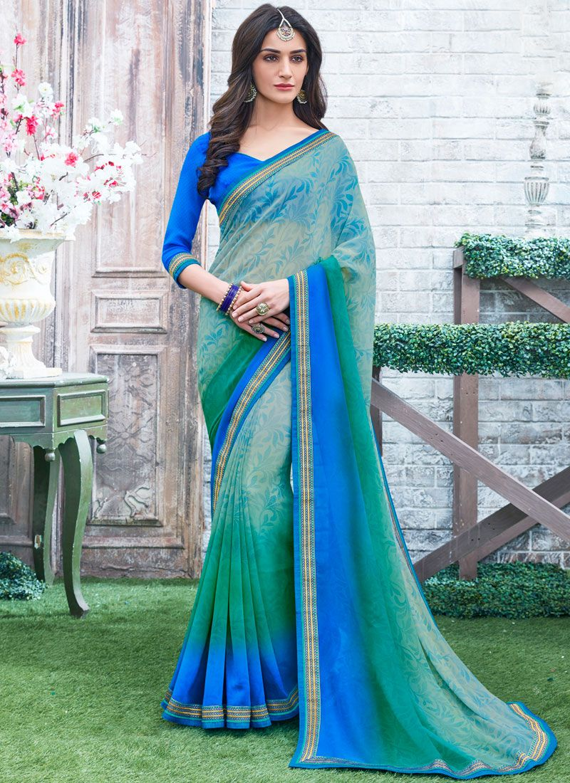 Georgette Printed Work Printed Saree