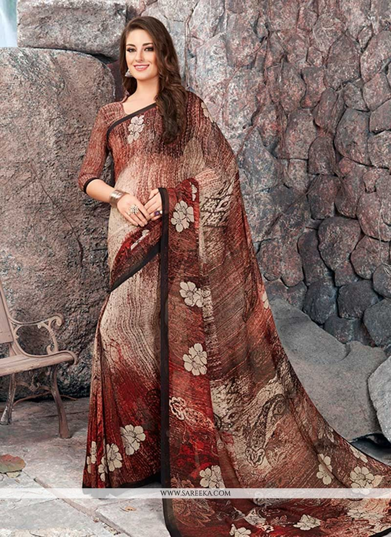 Georgette Printed Work Work Casual Saree