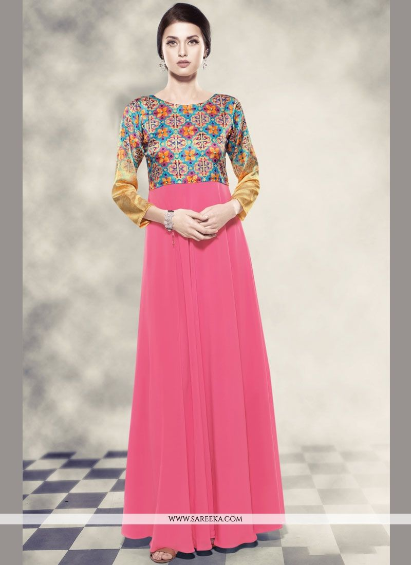 Georgette Printed Work Work Readymade Gown