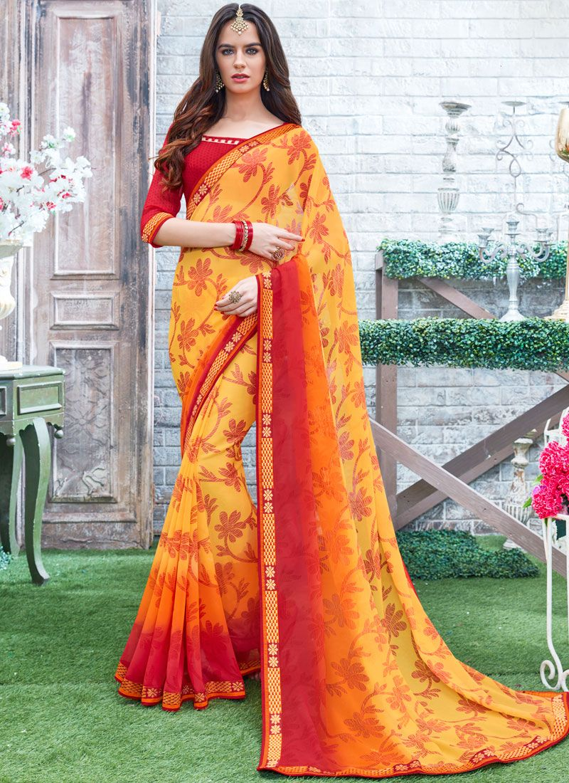 Georgette Red and Yellow Printed Saree