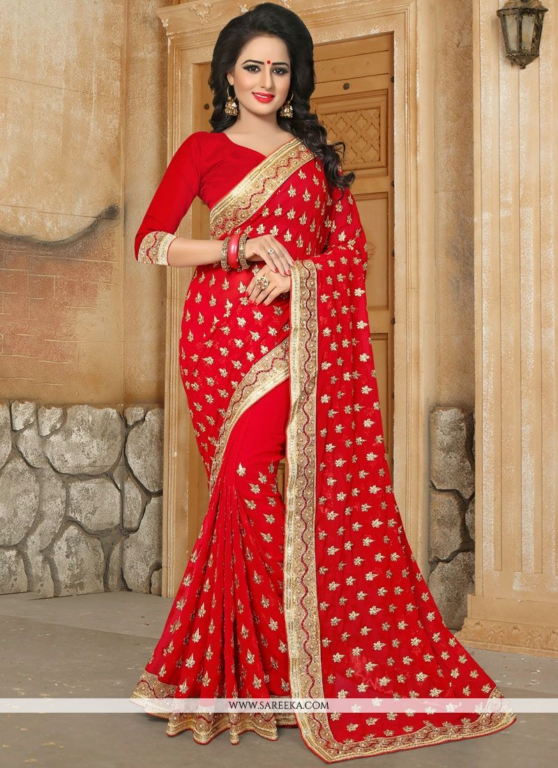 e5947b0848 Buy Georgette Red Stone Work Work Classic Saree : 74308 -