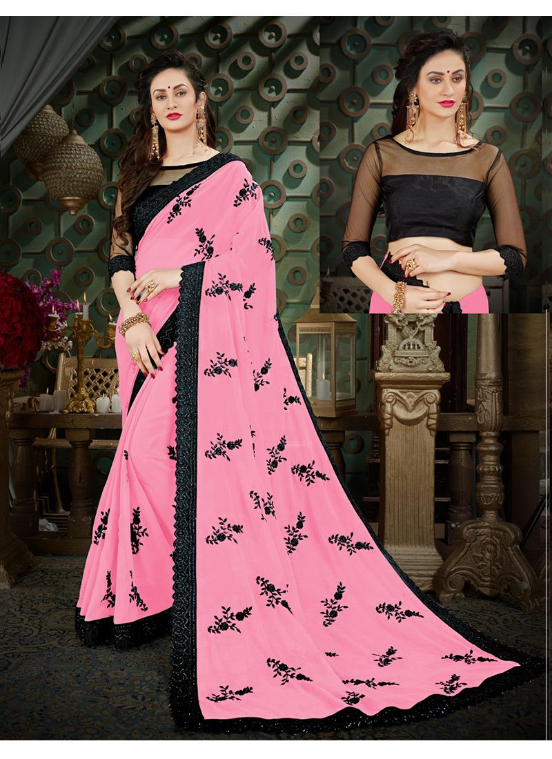 Georgette Thread Work Casual Saree